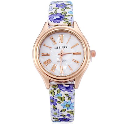 MEELEER Female Quartz Watch with Floral Pattern Round Roman Numerals Dial Cloth Leather Band