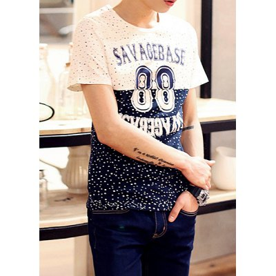 ФОТО Stylish Round Neck Letters and Polka Dot Print Slimming Color Block Short Sleeves Men