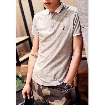 Гаджет   Slimming Turn-down Collar Button Embellished Personality Fabric Short Sleeves Men