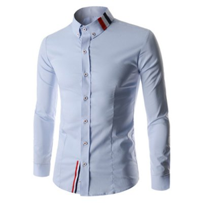 Stylish Shirt Collar Slimming Buttons Design Stripes Splicing Long Sleeve Polyester Shirt For Men