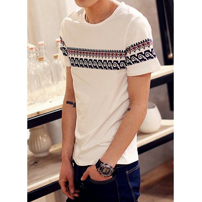 Гаджет   Laconic Round Neck Wave and Abstract Pattern Print Slimming Short Sleeves Men
