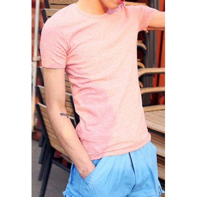 Гаджет   Concise Round Neck Slimming Special Fabric Design Short Sleeves Men