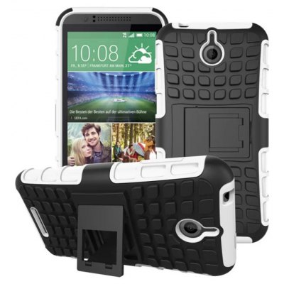 Stand Design TPU and PC Material Tire Pattern Protective Back Cover Case for HTC Desire 510