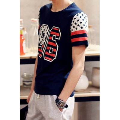 Гаджет   Trendy Number and Star Print Round Neck Slimming Color Block Short Sleeves Men