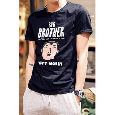 Гаджет   Concise Round Neck Letters and Cartoon Print Slimming Solid Color Short Sleeves Men