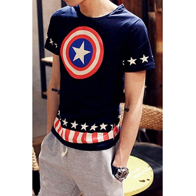 Гаджет   Casual Round Neck Personality Five-Pointed Star Print Slimming Short Sleeves Men