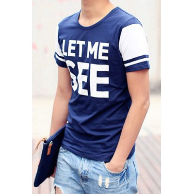 ФОТО Stylish Round Neck Slimming Color Block Letter Print Short Sleeve Polyester T-Shirt For Men