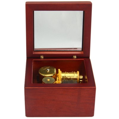 Clockwork Redwood Color Music Box with Mirror