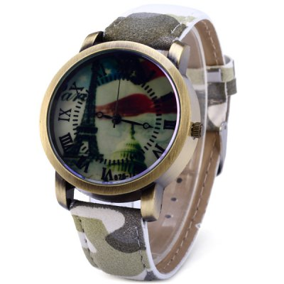 Men Quartz Watch Analog Round Dial Camouflage Leather Strap