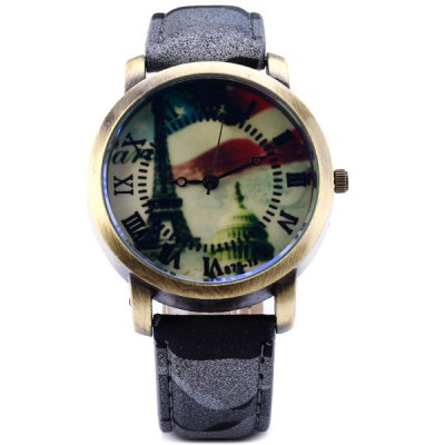 Фотография Men Quartz Watch Analog Round Dial Camouflage Leather Strap