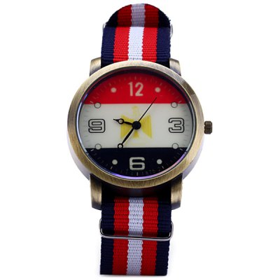 Male Quartz Watch Round Dial Canvas Strap for Men