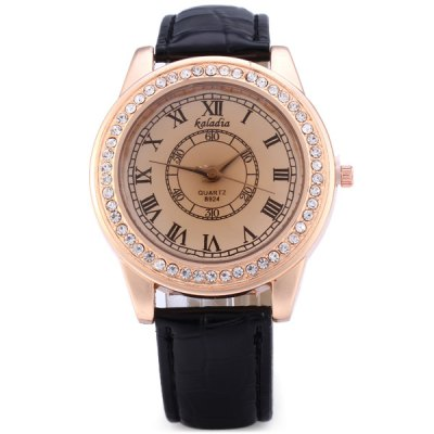 Фотография Kaladia Female Quartz Watch Diamond Round Dial Leather Band