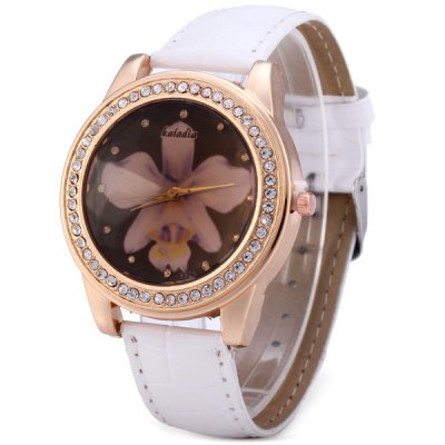 Фотография Kaladia 8925A Diamond Bezel Women Quartz Watch Flower Pattern Leather Band