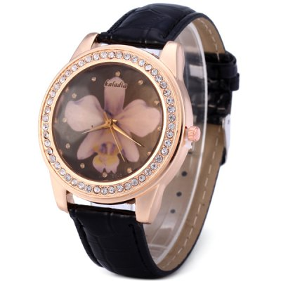 Kaladia 8925A Diamond Bezel Women Quartz Watch Flower Pattern Leather Band