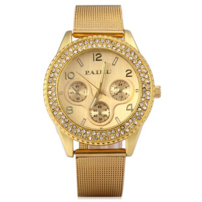 Paidu 58917 Ladies Quartz Watch with Steel Net Band Diamond Round Dial