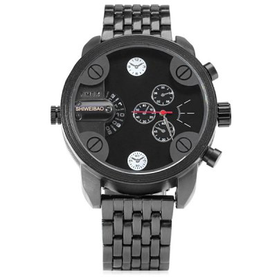 Фотография Shiweibao A3130 Male Double Time Quartz Watch with Decorative Sub - dials Stainless Steel Strap