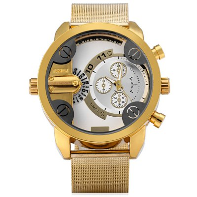 Фотография Shiweibao A3132 Male Double Time Quartz Watch with Decorative Sub - dials Steel Net Strap
