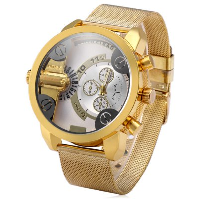 Shiweibao A3132 Male Double Time Quartz Watch with Decorative Sub - dials Steel Net Strap