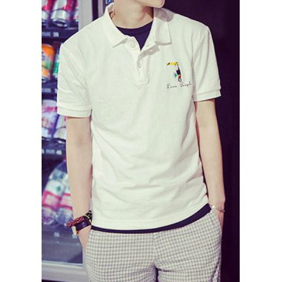Гаджет   Concise Turn-down Collar Parrot Embroidery Slimming Solid Color Short Sleeves Men