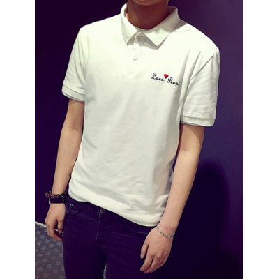 Гаджет   Slimming Turn-down Collar Solid Color Heart Embroidery Short Sleeves Men