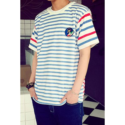 Гаджет   Colorful Stripes Print Round Neck Slimming Cartoon Embroidery Short Sleeves Men