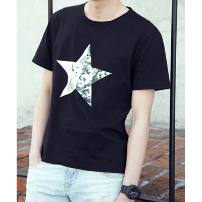 Гаджет   Concise Round Neck Floral Design Star Slimming Solid Color Short Sleeves Men