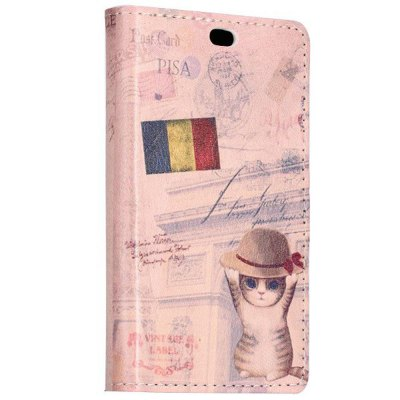 Гаджет   Stand Design Retro Flag and Cat Pattern Protective Cover Case of PU and PC Material for Nokia X Other Cases/Covers