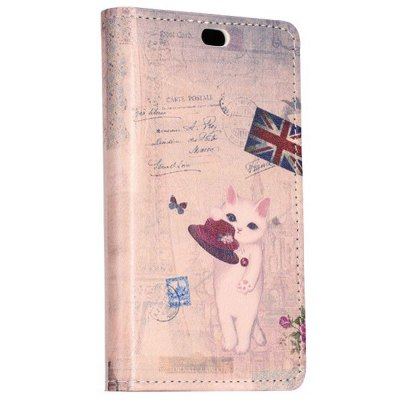 ФОТО Stand Design The Union Jack and Cat Pattern Protective Cover Case of PU and PC Material for Nokia X