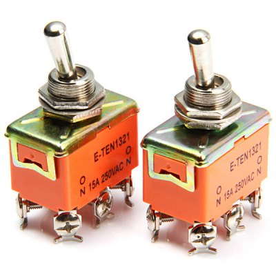 DIY 6Pin AC 250V 15A Toggle ON - ON Switch for Power Control - 2PCS