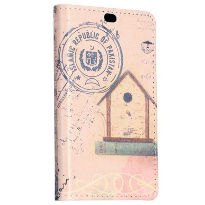 ФОТО Stand Design Postcard and Eiffel Tower Pattern Protective Cover Case of PU and PC Material for Nokia X