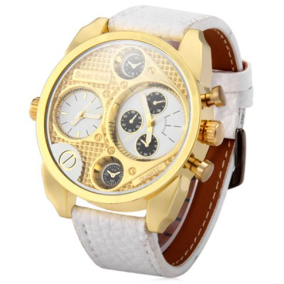 Shiweibao A3077 Male Quartz Watch with Dual Time Decorative Sub - dials