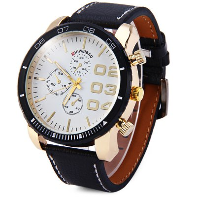 Shiweibao A3139 Leather Band Decorative Sub - dials Male Quartz Watch