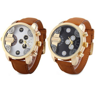 Shiweibao A3132 - 5 Round Dial Male Quartz Watch with Double Movt