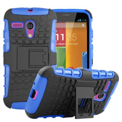 Stand Design TPU and PC Material Tire Pattern Protective Back Cover Case for Motorola moto G