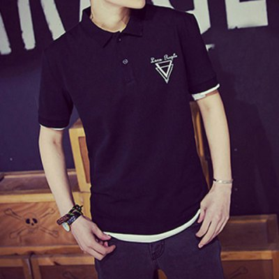 Гаджет   Concise Turn-down Collar Triangle Embroidery Slimming Solid Color Short Sleeves Men