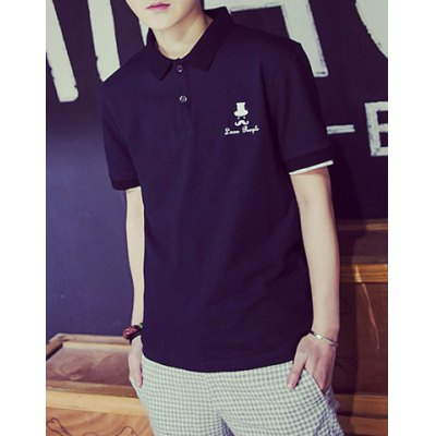 Гаджет   Simple Turn-down Collar Embroidery Slimming Solid Color Short Sleeves Men