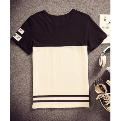 Гаджет   Refreshing Round Neck Letters Print Slimming Color Splicing Short Sleeves Men