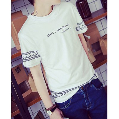 Гаджет   Laconic Round Neck Letters and Humanoid Print Slimming Solid Color Short Sleeves Men