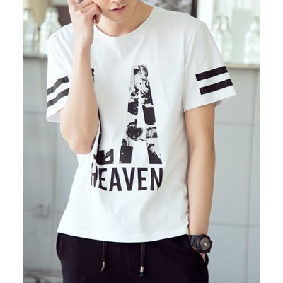 Гаджет   Slimming Round Neck Personality Letters Print Short Sleeves Men