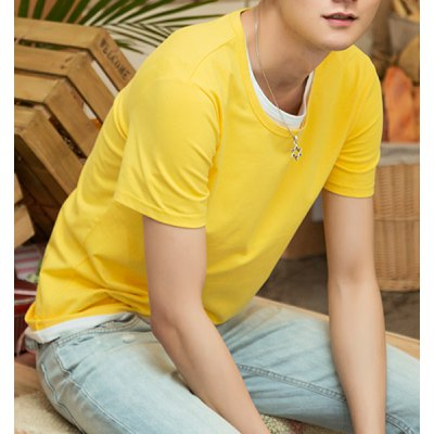 Гаджет   Concise Round Neck Solid Color Slimming Short Sleeves Men