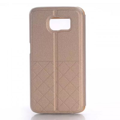 ФОТО Stand Design Grid Pattern Protective Cover Case of PU and PC Material for Samsung Galaxy S6 G9200