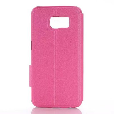ФОТО Stand Design View Window Protective Cover Case of PU and PC Material for Samsung Galaxy S6 G9200