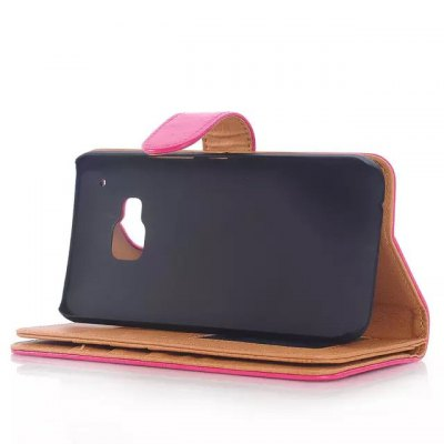 Фотография Stand Design Triple Folding Card Holder Phone Cover Case of PU and PC Material for HTC One M9