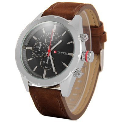 Curren 8154A Leather Band Fashion Dial Male Quartz Watch