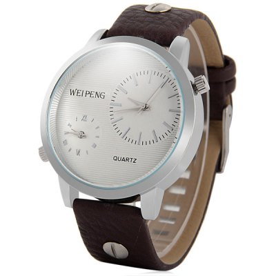 Weipeng 4729 Dual Time Male Quartz Watch with Leather Band