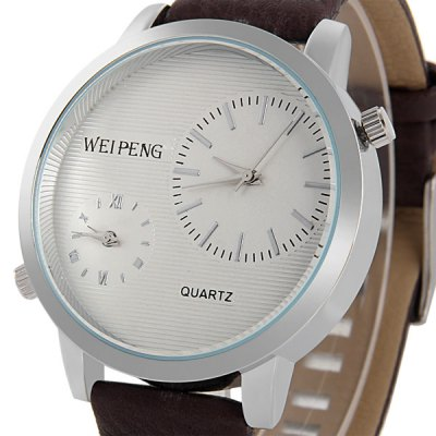 Фотография Weipeng 4729 Dual Time Male Quartz Watch with Leather Band
