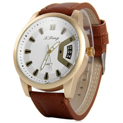 Xfeng Male Quartz Watch with Round Dial Leather Band Decorative Date