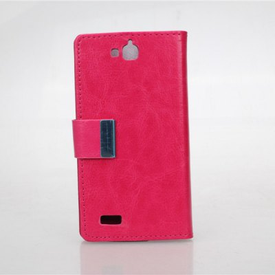 Crazy Horse Pattern PU and PC Material Card Holder Cover Case with Stand for Huawei Honor Holly