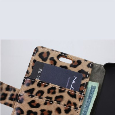 Фотография Leopard Print Pattern PU and PC Material Card Holder Cover Case with Stand for Sony Xperia Z3 mini
