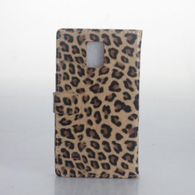 Leopard Print Pattern PU and PC Material Card Holder Cover Case with Stand for Samsung Galaxy Note 4 N9100